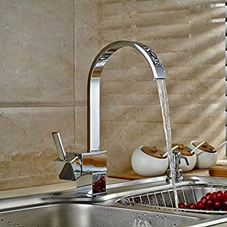 Auralum Classic Square Kitchen Water Tap Faucet Sink With Nickel Finish  Single Handle Single Hole
