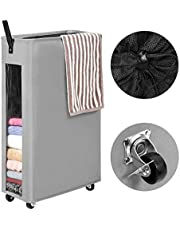 WOWLIVE 27 inches Slim Rolling Laundry Hamper with Wheels Tall Thin Laundry Basket with Clear Window Handy Collapsible Clothes Hamper Mesh Cover Rectangular Storage Corner Bin (Grey1)