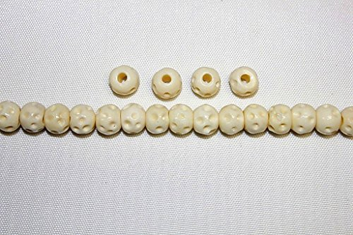 """Hand Crafted & Carved Bone Beads - 8mm, 10mm, 12mm, 1/2"""" & 1"""" Pipe - Pack of 72 or 144 Beads - Four (4) Colors Available (BB-9500-0000 (8mm-Ivory - 144 Beads))"""