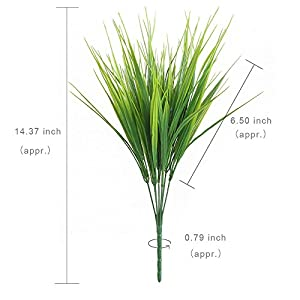 HOGADO Artificial Outdoor Plants, 4pcs Fake Plastic Greenery Shrubs Wheat Grass Bushes Flowers Filler Indoor Outside Home House Garden Office Decor 6