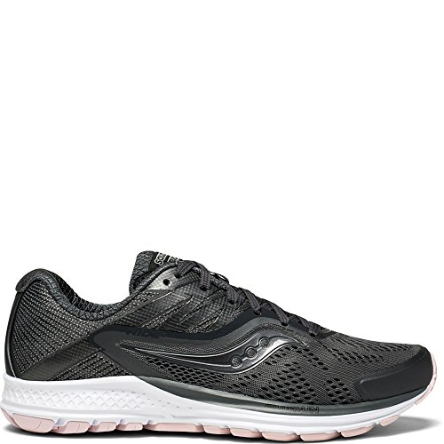 Saucony Women's Ride 10 Running Shoe, Gunmetal/Pink, 9 Medium US -