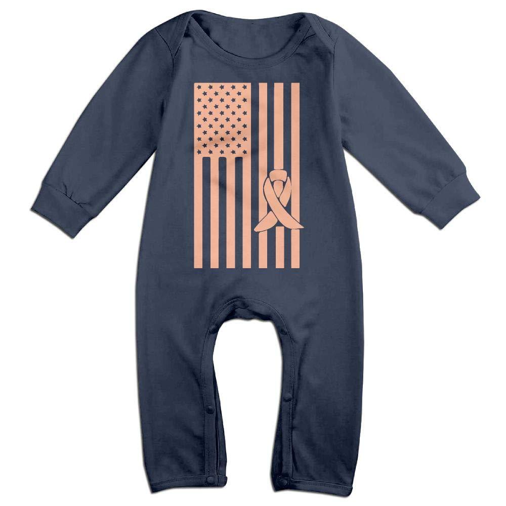 Mri-le1 Baby Boy Long Sleeve Jumpsuit Uterine Cancer Awareness American Flag Infant Long Sleeve Romper Jumpsuit