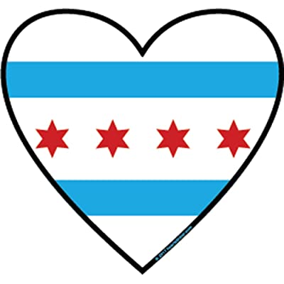 I love Chicago Sticker | Heart-shaped Chicago flag emblem label | the new oval euro sticker | Apply to water bottle decal, rooftop box rack, camping, laptop, bumper, 312 state st Michigan ave bear cub: Automotive