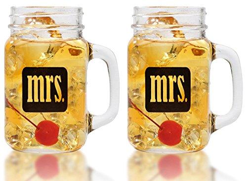 Mrs. & Mrs. Mason Jars Glass Same Sex Set,16 oz - By Smart T