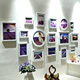 LQQGXL photo frame collage Composite solid wood photo wall living room photo frame creative background wall decoration Photo frame ( Color : White )
