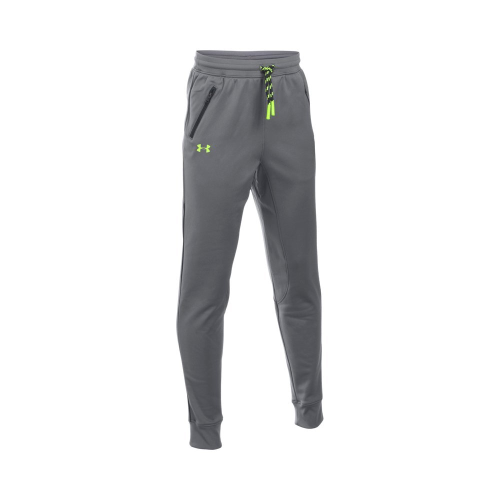 Under Armour Boys' Pennant Tapered Pant, Graphite/Fuel Green, Youth X-Small