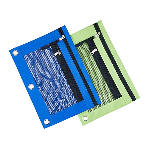 (3 Rings Binder Pencil Pouch with Black Dismountable Zipper Puller, Pencil Case with Double Pocket and Mesh Window (Blue&Green 2pack))