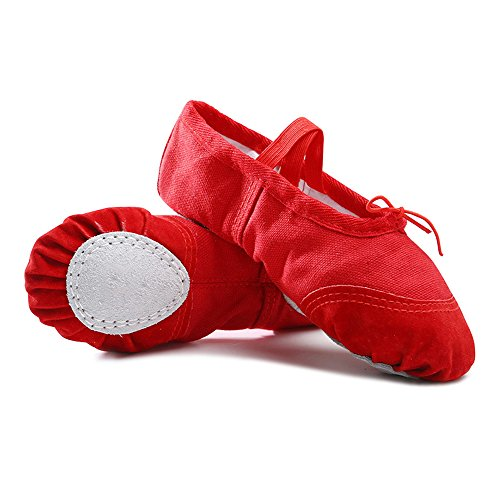 CiiaoLeoo-Girls-Ballet-Slipper-Split-Sole-Cotton-Canvas-Dance-Gymnastics-Yoga-Shoes-Flats-Little-KidBig-Kid-115-M-US-Little-Kid-Red