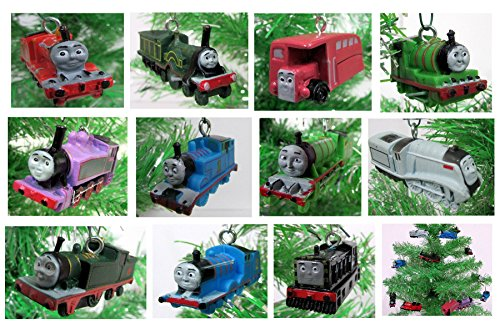 Holiday Train Ornaments (Thomas the Train 12 Piece Holiday Christmas Tree Ornament Set Featuring Thomas, Hiro, James, Percy, Belle, Spencer and Other Engine Friends Ranging from 2