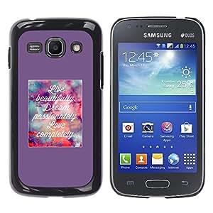 Vivir Amor ideal del cartel de motivación - Metal de aluminio y de plástico duro Caja del teléfono - Negro - Samsung Galaxy Ace 3