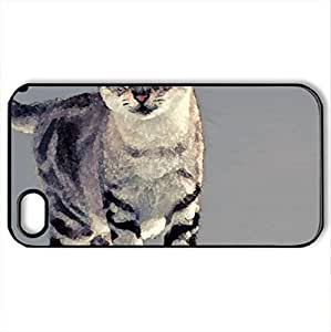Beautiful Cat - Case Cover for iPhone 4 and 4s (Cats Series, Watercolor style, Black)