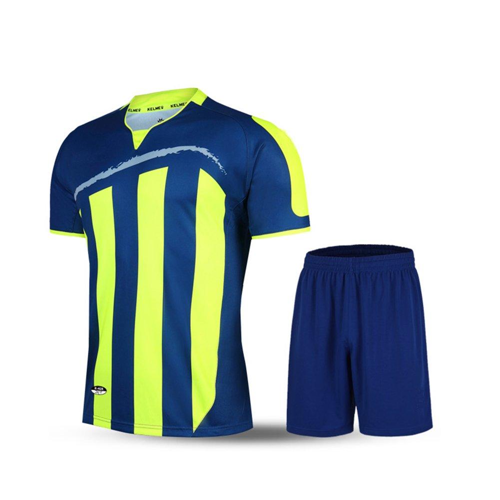 Kelme半袖サッカースポーツストライプUniform B01ELABFN0 Medium|ブルー/グリーン ブルー/グリーン Medium