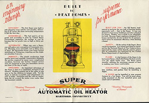 Potter & Johnson Super Oil Heator home oil furnace mailer broadside ca 1920s