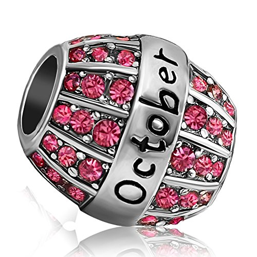 JMQJewelry Birthstone Birthday Pink October Charm Spacer Beads With Crystal Rhinestone For Bracelets Charms