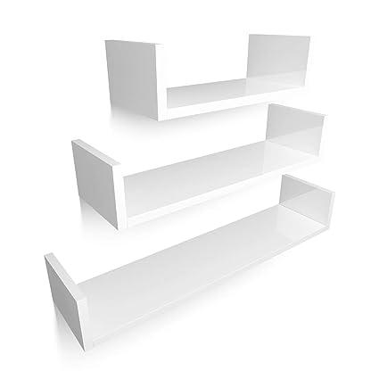 Mensole Da Muro.Homfa Mensola Supporto Da Parete In Mdf Set Di 3 Mensole Da Muro Scaffale Libreria Cd 60 45 30 Cm Carico 20 Kg Bianco