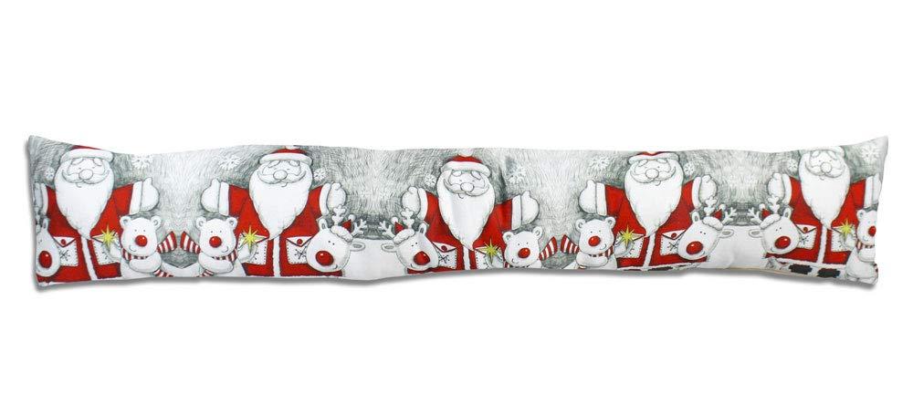 Vetrineinrete® Paraspifferi Natalizio con Babbo Natale sottoporta Antivento Cuscino per Correnti d'Aria parafreddo per Porte finestre infissi Decorazioni Natalizie 53438 A50 (Bianco) Vetrine in rete®