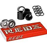 Bones Super Reds Bearings, 8 Pack set With FREE Bones Spacers & Speed Washers