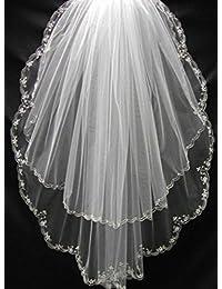 Bridess Women's 2T Wedding Bridal Veil Floral Beaded Edge