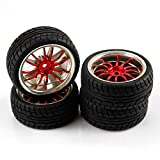 SkyQ 1/10 Scale On Road Car RC Wheels and Tires Tyre for HSP HPI HIMOTO Red Plated Pack of 4