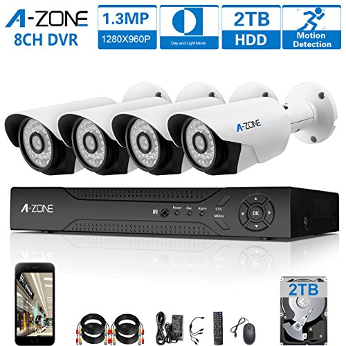 A-ZONE 8ch AHD 1080P DVR Security Camera System & 2TB Hard Drive + 4 HD 1.3 Mega-Pixels(1280x960) Outdoor CCTV Bullet Cameras Motion Detection & Alarm Push, IP67 Weather-Proof Metal (Complete Home Security System)