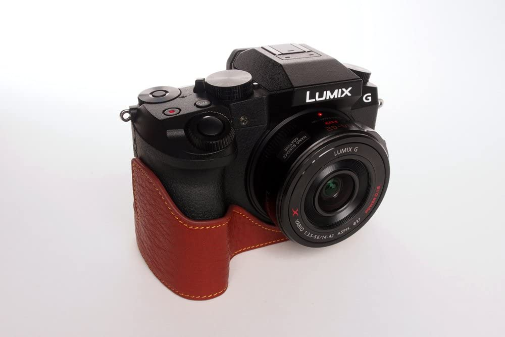 Handmade Genuine real Leather Half Camera Case Bag Cover for Panasonic G7 Brown Color