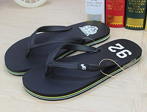 Sfnld Mens Casual Open Toe Thong Striped Mid Sole Summer Flip Flops Flat Sandals Black 9J01K6D
