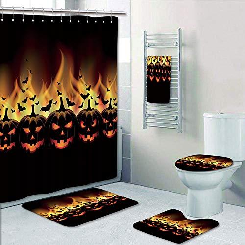 Bathroom 5 Piece Set shower curtain 3d print Multi Style,Vintage Halloween,Happy Halloween Image with Jack o Lanterns on Fire with Bats Holiday Decorative,Black Scarlet,Bath Mat,Bathroom Carpet Rug,No]()