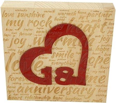 18 Anniversario Di Matrimonio.Blocco In Legno Di Faggio Per 18 Anniversario Di Matrimonio Con