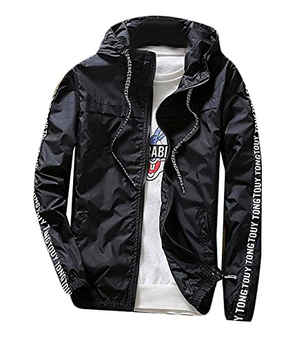(BuZaiYouYu Mens Casual Spell Color Sun Protection Slim Jacket Black 1X-Small Fashion)