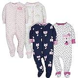GERBER Baby Girls' 4-Pack Sleep N' Play, Fox/Princess, 6-9 Months