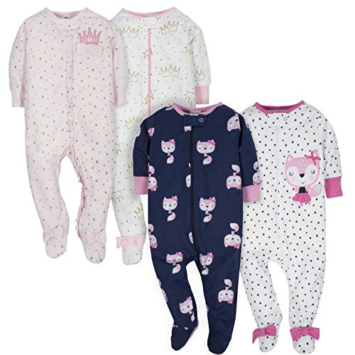 Gerber Baby Girls' 4-Pack Sleep N' Play, Fox/Princess, 3-6 Months -