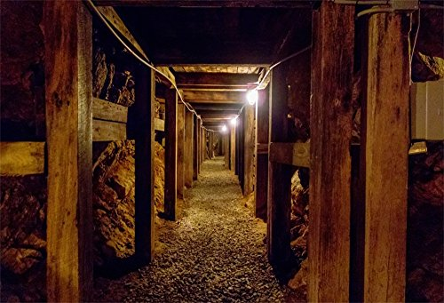 OFILA Mine Backdrop 7x5ft Photography Backdrop Cave Shaft Dim Light Lake Tunnel Events Decor Dark Corridor Photos Shooting Video Studio Props
