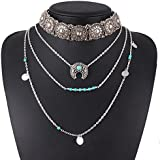 Retro Silver Turquoise Hippie Bohemian Necklace Ethnic Boho Festival WelcomeShop