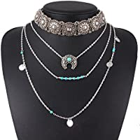 Nongkhai shop Retro Silver Turquoise Hippie Bohemian Necklace Ethnic Boho Festival Jewelry New