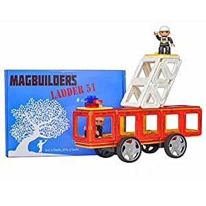 Magnetic Tiles, Fire Truck Toy - 34 Large Pieces, Great Toys for Boys or Girls that Love Rescue Vehicle Toys, Build a Red or Yellow Ladder Truck with Firemen and Flashing Siren!