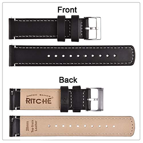 Buy black leather 24mm watch strap
