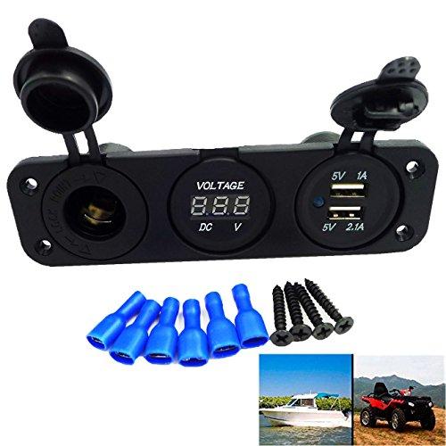 geree-dc12v-three-hole-panel-atv-dc-digital-led-voltmeter-dual-usb-2-ports-cigarette-lighter-socket-