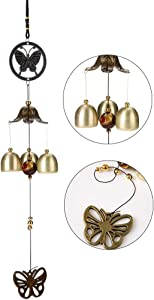 Retro Wind Chime Japanese Bless Lucky Butterfly Wind Chimes for Outside, Small Antique Copper Feng Shui Temple Wind Bell with 3 Bells Wind Chimes Outdoor, Garden and Patio, Balcony Hanging decor