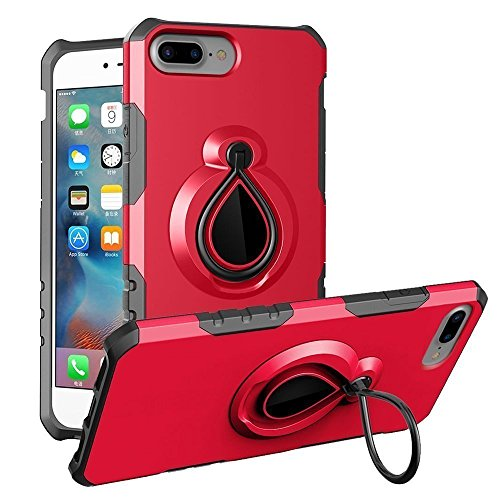 iPhone 7 Plus Case, iPhone 8 Plus Case with Finger Ring Durable Armor Kickstand Design and Full Protective ShockProof Case for Apple iPhone 7 Plus (2016) and Apple iPhone 8 Plus (2017) (Red) from without brand