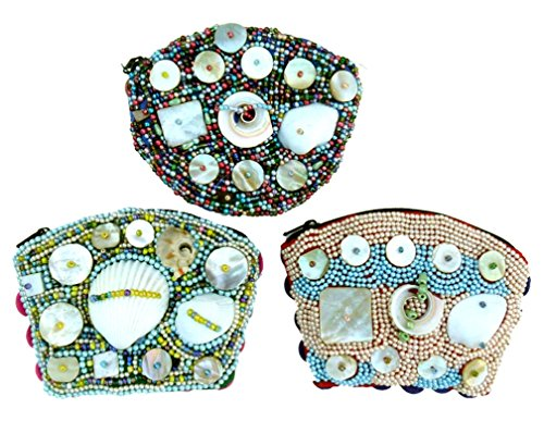 Best Selling Great Real Seashell Coin Money Purse Pouch Unique Special Cute New 2017 Christmas Clearance Deal Gift Idea for Women Teen Girl Her Young Ladies Themed Beach Lovers (3 Pack)