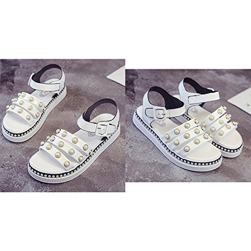 Roman Beach Buckle Pearl Students Sandals White Sandals Ladies Eastlion qxZPwXYO