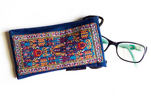 Eyeglass Case &/or Cell Phone Case - Oriental Carpet Woven Fabric - Tietsien Design - Oriental Fabric Case