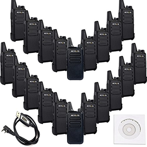 Retevis RT22 2 Way Radio Rechargeable VOX 16CH 400-480MHz CTCSS/DCS Two Way Radio(20 Pack) and Programming Cable by Retevis
