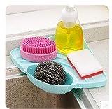 Maikouhai 2 Pcs Kitchen Sink Corner Storage Rack, Bathroom Kitchen Sink Corner Storage Soap Tool Rack Sponge Holder Suction Cup For Collection in Kitchen (Blue)