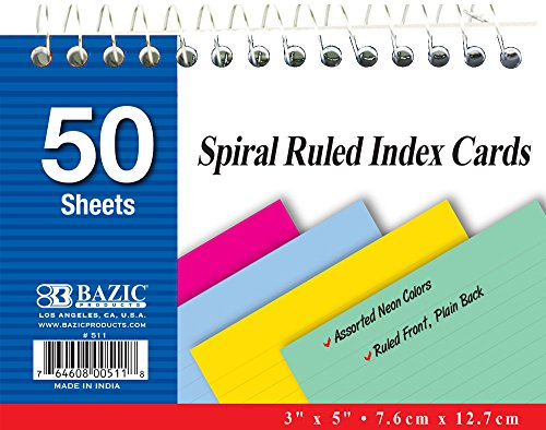 BAZIC 50 Ct. Spiral Bound Index Cards. 3x5 Perforated Flash Cards for School, Stationery, or Office Supplies