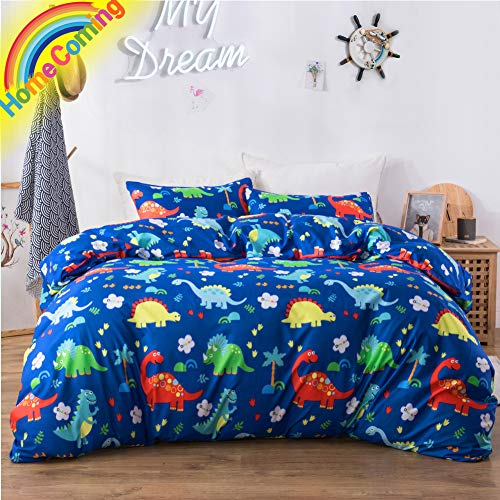 - Macohome Kids Duvet Cover Set Queen/Full Boys Bedding with 2 Pillowcases and 1 Duvet Cover(Dinosaur, Queen)