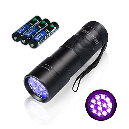 Pet UV 12 LED Blacklight/Flashlight Urine Stain Finder/Odor Detector with AAA Batteries – Finds Dogs Cats Stains on Carpet & Rugs;Detect Counterfeit Currency, Hotel Room DNA Filth & Bedbugs,Scorpions
