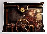 Ambesonne Industrial Pillow Sham, Steam Pipes and Pressure Gauger Vintage Style Damaged Timeworn Engine, Decorative Standard Queen Size Printed Pillowcase, 30 X 20 Inches, Bronze Dark Orange
