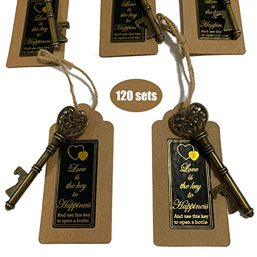 20 packs- with Escort Tag Card, Love is the Key to Happiness Sticker, Wedding Party Favors, Thanksgiving, Baby Shower and Special Events Decoration (Bronze Vintage Style) ()