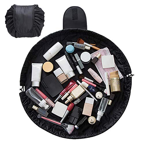 SANBLOGAN Drawstring Makeup Bag, Lay Flat Quick Makeup Bag Lazy Travel Cosmetic Bag Waterproof Cute Makeup Bag That Opens Flat Toiletry Bag for Women Men Girls, Black